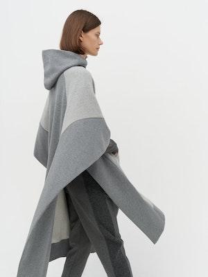 Lena Contrast Poncho Grey by Vaara - 3