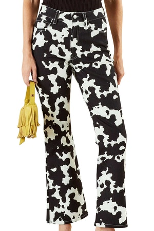 Cropped Bell Jean in Cow Print by Simon Miller - 1