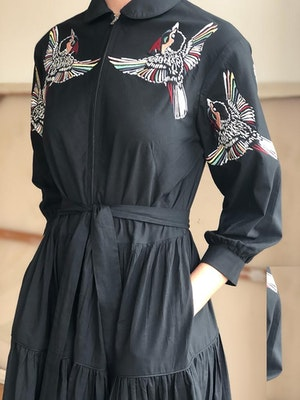 Zip front dress Blue Jay bird multi embroidered on black by Tallulah & Hope - 4
