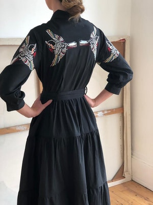 Zip front dress Blue Jay bird multi embroidered on black by Tallulah & Hope - 2