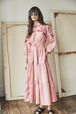 Zip front dress Blue Jay bird Red embroidered / pink by Tallulah & Hope - 3