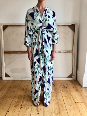 Gloria wrap dress Doves mint/navy by Tallulah & Hope - 1