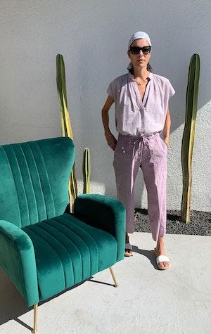 Mauve cotton wide leg pant by Two - 3