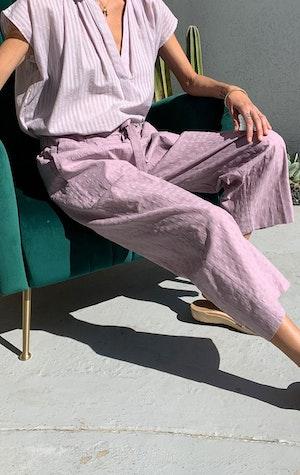 Mauve cotton wide leg pant by Two - 2