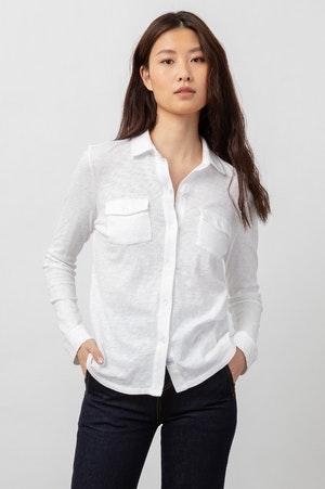 THE JERSEY BUTTON DOWN - WHITE by Rails - 2