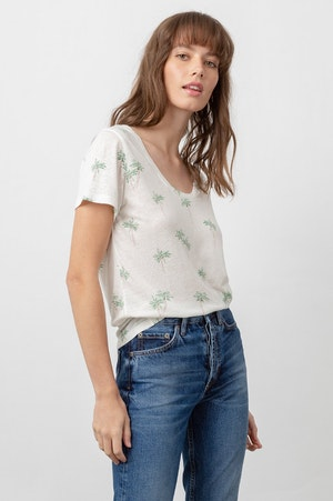 THE LUNA SCOOP NECK - SKETCHED PALMS by Rails - 4