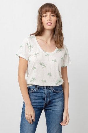 THE LUNA SCOOP NECK - SKETCHED PALMS by Rails - 5