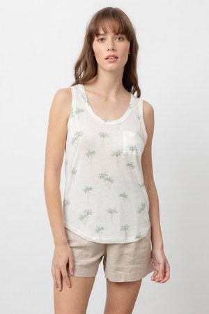 THE QUINN SCOOP TANK - SKETCHED PALMS by Rails - 2