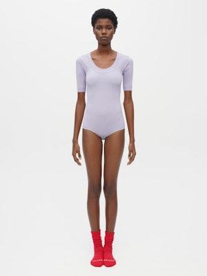 Technical Knit Short Sleeve Bodysuit Purple by Vaara - 1