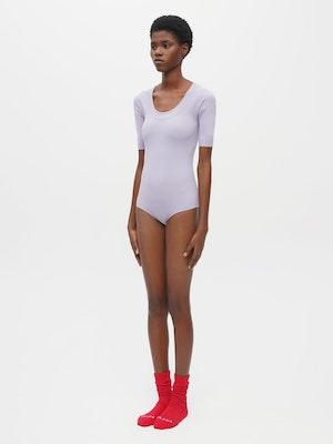 Technical Knit Short Sleeve Bodysuit Purple by Vaara - 2