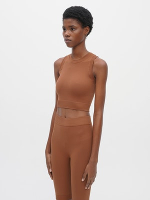 Technical Knit Crop Top Brown by Vaara - 2