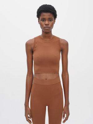 Technical Knit Crop Top Brown by Vaara - 1