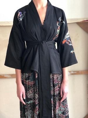 Kimono jacket Lovebirds embroidered by Tallulah & Hope - 1