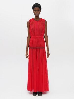 Powermesh Pleated Dress Red by Vaara - 1