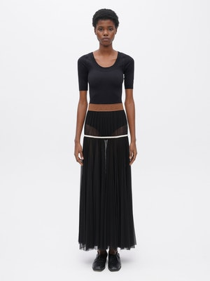 Powermesh Pleated Skirt Black by Vaara - 1