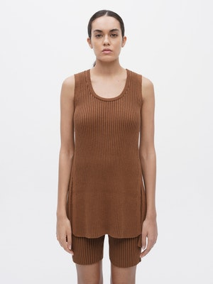 Rib Knit Long Tank Top Brown by Vaara - 1