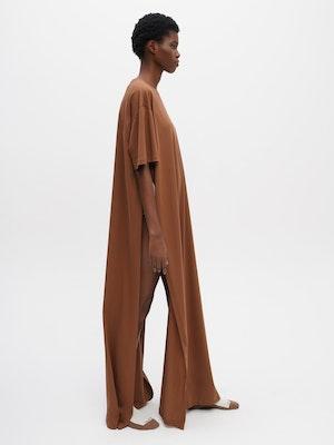 Long Oversized T-Shirt Dress Brown by Vaara - 1
