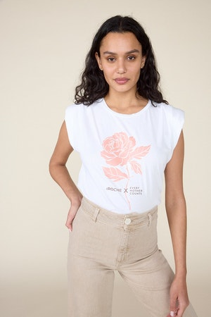 ST.ROCHE  X EVERY MOTHER COUNTS, ROSE PADDED SHOULDER TEE - WHITE by St. Roche - 1