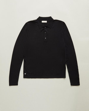 Loreto 2.0 Long Sleeve Wool & Cashmere Unisex Polo Shirt by Want Les Essentiels - 1