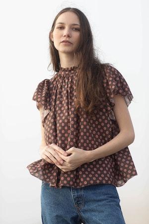 Carla Highneck Shirt DUSK FLOR MEDALLION by Trovata - 1
