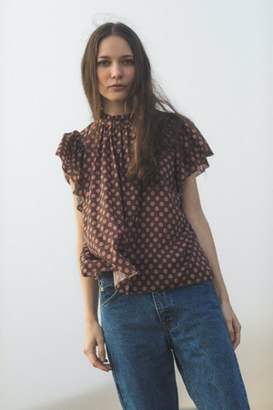 Carla Highneck Shirt DUSK FLOR MEDALLION by Trovata - 2