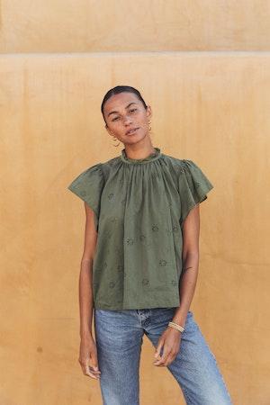 Carla Highneck Shirt OLIVINE EYELET by Trovata - 1