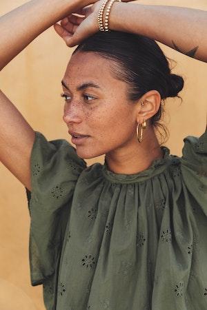 Carla Highneck Shirt OLIVINE EYELET by Trovata - 3