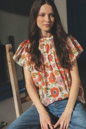 Carla Highneck Shirt POPPY by Trovata - 1