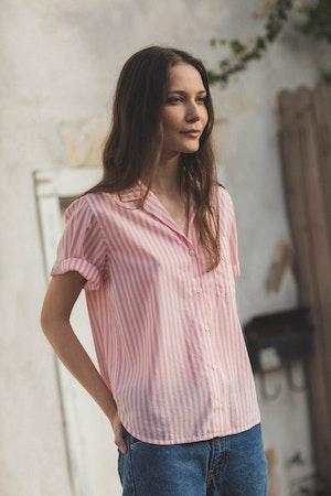 Margot S/S Camp Shirt PINK STRIPE by Trovata - 1