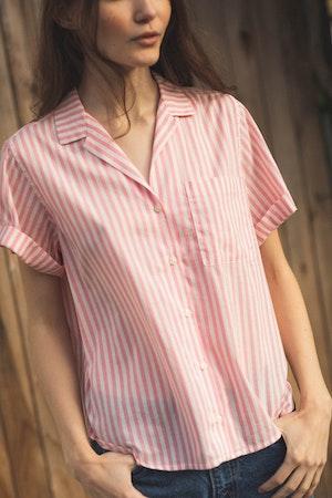 Margot S/S Camp Shirt PINK STRIPE by Trovata - 2