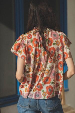 Carla Highneck Shirt POPPY by Trovata - 3