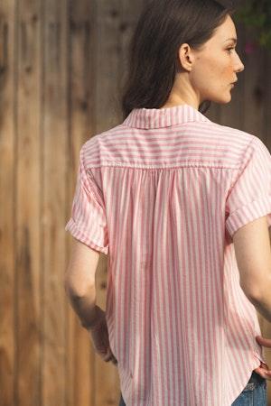 Margot S/S Camp Shirt PINK STRIPE by Trovata - 3