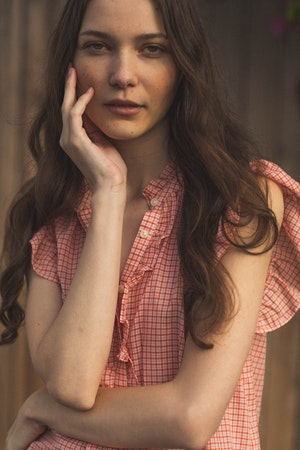 Paige Blouse BASQUE CHECK by Trovata - 2