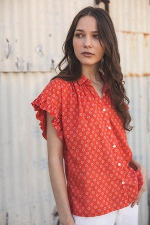 "Marianne ""B"" Ruffle Sleeve Shirt ADOBE FLOR MEDALLION by Trovata - 2"