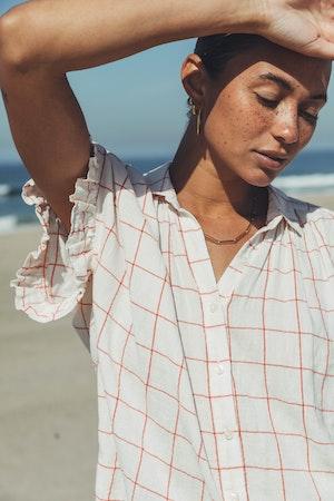 "Marianne ""B"" Ruffle Sleeve Shirt CROSS-COURT PLAID by Trovata - 3"