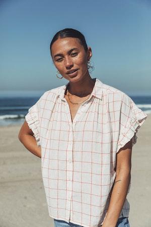 "Marianne ""B"" Ruffle Sleeve Shirt CROSS-COURT PLAID by Trovata - 2"