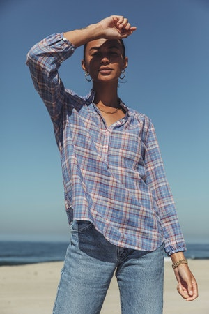 "Sara ""B"" Henley Shirt MONTAUK PLAID by Trovata - 2"
