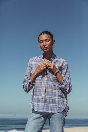 "Sara ""B"" Henley Shirt MONTAUK PLAID by Trovata - 4"
