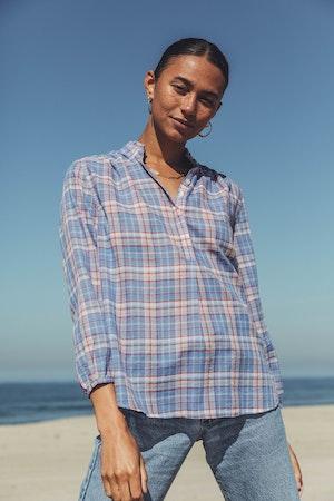 "Sara ""B"" Henley Shirt MONTAUK PLAID by Trovata - 1"