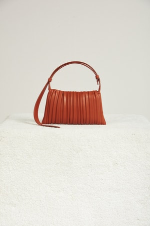 Vegan Mini Puffin in Sepia Brown Pleated by Simon Miller - 1