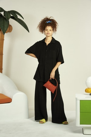 Vegan Mini Puffin in Sepia Brown Pleated by Simon Miller - 4