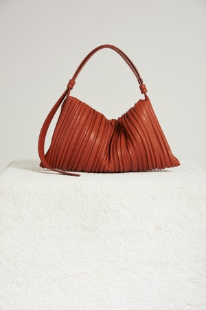 Vegan Large Puffin in Sepia Brown Pleated by Simon Miller - 1