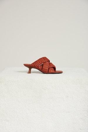 Vegan Criss-Cross Tee Heel in Sepia Brown by Simon Miller - 1