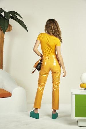 VEGAN LEATHER Straight Leg Pant in Sunset Orange by Simon Miller - 3