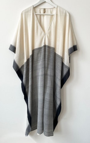 White/Grey V-neck caftan by Two - 1