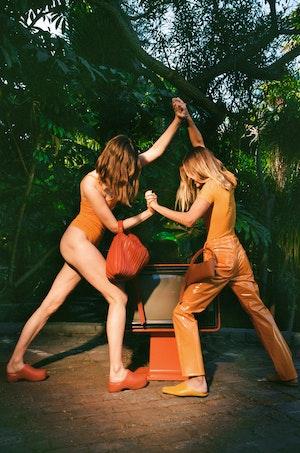 VEGAN LEATHER Straight Leg Pant in Sunset Orange by Simon Miller - 5