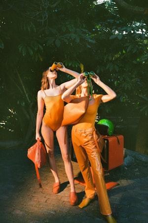 VEGAN LEATHER Straight Leg Pant in Sunset Orange by Simon Miller - 4
