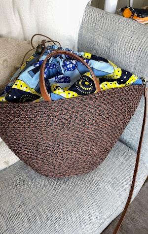 Raffia Auburn handbag by Two - 6