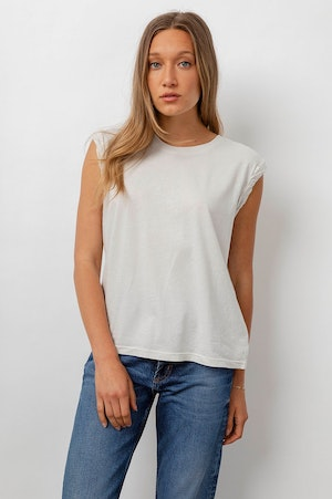 THE MUSCLE TANK - IVORY GREY ACID WASH by Rails - 2