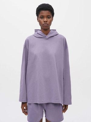 Hooded Long Sleeve Pocket T-shirt Purple by Vaara - 1